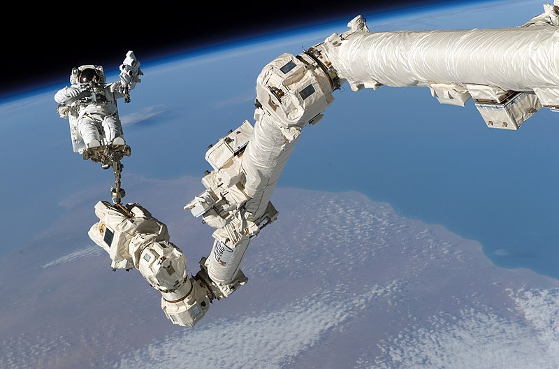 Fitxer:STS-114 Steve Robinson on Canadarm2.jpg