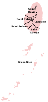 Map of the Parishes of Saint Vincent dan Grenadine