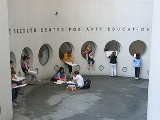 Solomon R. Guggenheim Museum - Students sketching at the entrance to the Sackler Center