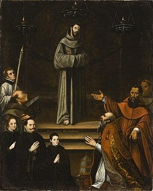 Pope Nicholas V - Image: Saint Francis of Assisi Appearing before Pope Nicholas V, with Donors (La aparicion de San Francisco de Asis al Papa Nicolas V, con donantes) LACMA M.2008.85