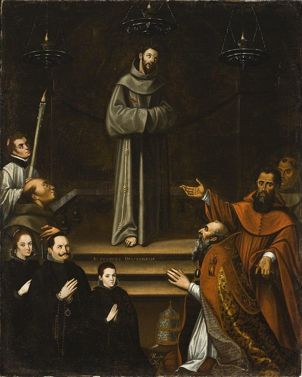 Saint Francis of Assisi Appearing before Pope Nicholas V, with Donors (La aparicion de San Francisco de Asis al Papa Nicolas V, con donantes) LACMA M.2008.85