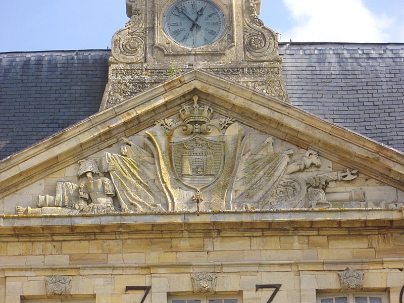 Town hall of Sainte-Menehould (Marne, France), sculpted pediment