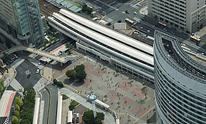 Sakuragicho Station from Landmark Tower 20140824.JPG
