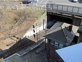 Salem interlocking tower and tunnel portal from above, April 2015.JPG