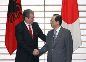 Albania–Japan relations - Albanian PM Sali Berisha (left) and Japanese PM Yasuo Fukuda at the PM's Official Residence in Tokyo on February 5, 2008.