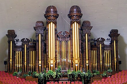 The Salt Lake Tabernacle organ found at the Salt Lake Tabernacle in Salt Lake City, Utah has 11,623 pipes and accompanies the Mormon Tabernacle Choir and Orchestra at Temple Square. Salt Lake City Organ.jpg