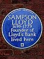 Sampson Lloyd - 1699-1779 Founder of Lloyd's Bank lived here.jpg
