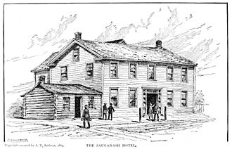 Sauganash Hotel - Sauganash Hotel, c. 1830–33 (the smaller building on the left was Chicago's first drug store)