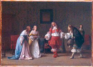 Mascarille présentant Jodelet à Cathos et à Madelon