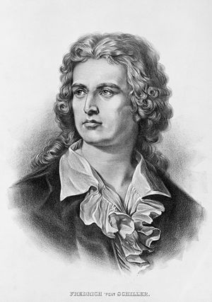 "Friedrich Schiller - Lithograph portrait from 1905, captioned ""Friedrich von Schiller"" in recognition of his 1802 ennoblement"