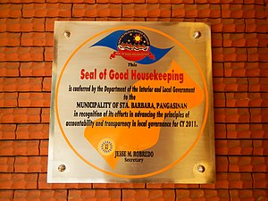 "Transparency (behavior) - A 2011 plaque recognizing the municipality of Santa Barbara, Pangasinan for its ""efforts in advancing the principles of accountability and transparency in local governance."""