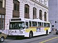 Seattle AM General trolleybus downtown, 1986.jpg
