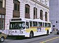 Seattle AM General trolleybus downtown, 1986.jpg
