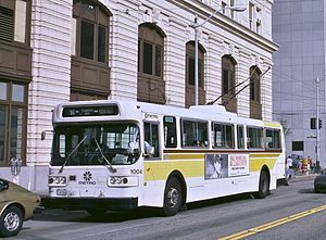 Trolleybuses in Seattle - AM General trolleybus on Route 10 in Downtown Seattle in 1986.