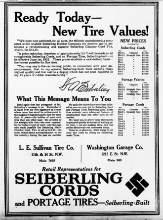 Seiberling Rubber Company - Seiberling Tires ad from 1922.