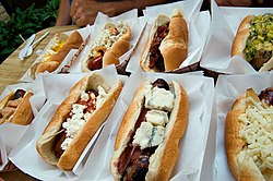 A selection of gourmet hot dogs.
