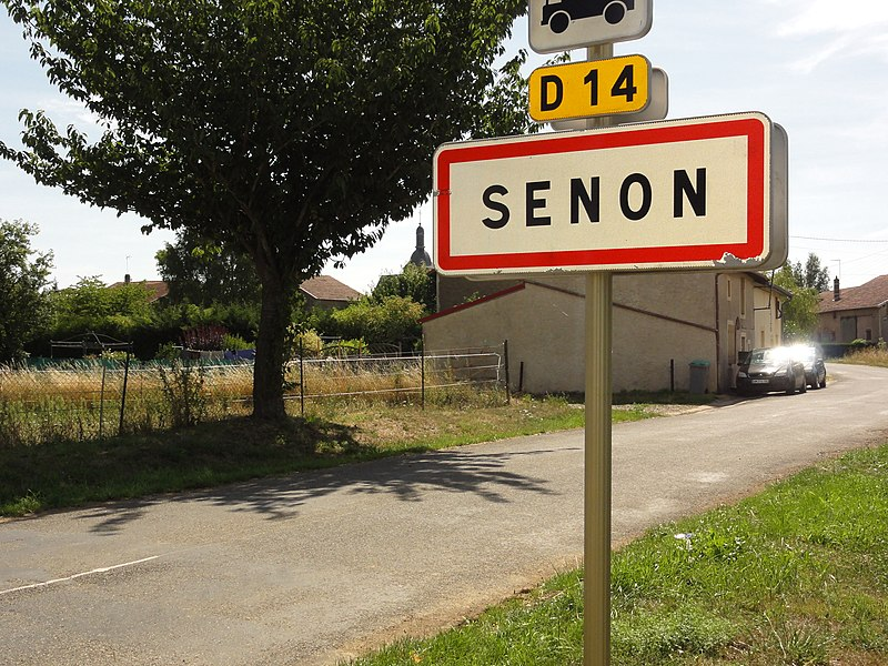 Senon (Meuse) city limit sign