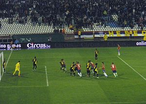 2014 FIFA World Cup qualification – UEFA Group A - Belgium defending against a Serbian corner in an away match