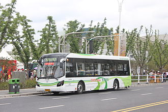 Battery electric bus - A Sunwin electric bus in Shanghai at a charging station