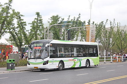 A Sunwin electric bus in Shanghai at a charging station ShanghaiExpo2010 Shuttle Bus.jpg