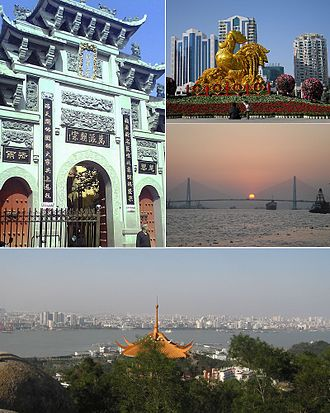 Shantou - From top:Zhengguo Temple, Renmin Square, Queshi Bridge, Shantou overview.