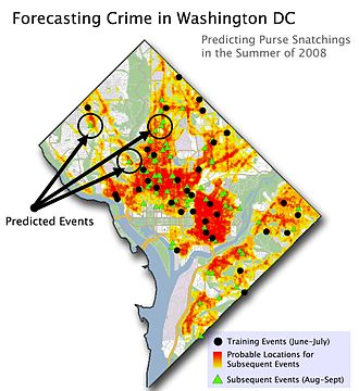 Geospatial predictive modeling - Crime Forecast of Washington DC. Red and orange colors indicate areas of high risk.