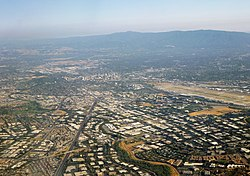 Silicon Valley, as seen from over north San Jose, facing southward towards Downtown San Jose, in June 2014