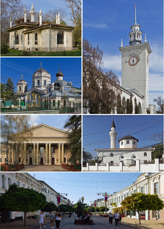 Simferopol - Clockwise: The railway station, Salgirka park, Trinity Cathedral, the State Medical University, Children's park, Catherine street