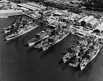 Spruance-class destroyer - Six Spruance-class destroyers fitting out, c. May 1975.