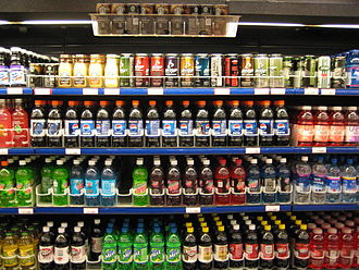 Sugary drink tax - Supermarket chilled beverage selection