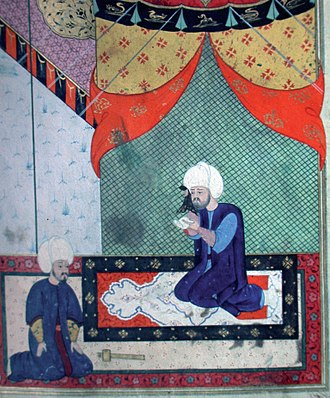 Sokollu Mehmed Pasha - Feridun Ahmed Beg and Sokollu Mehmed Pasha (right). Ottoman illustration c. 1568. (See also:Pirot kilim)