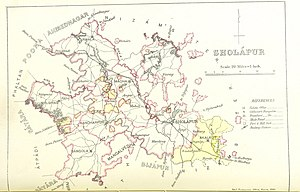 James Macnabb Campbell - Solapur district map from the Gazetteer of the Bombay Presidency