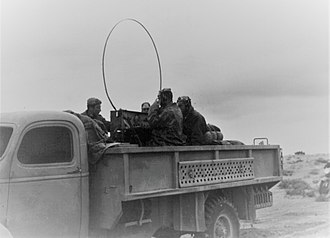First Battle of Bir el Gubi - Italian military personnel in a radio truck,  Bir el Gobi,  November 1941
