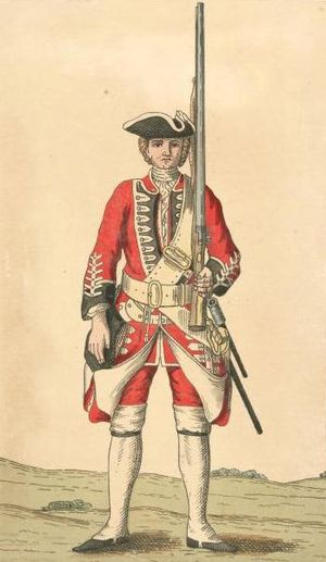 50th (Queen's Own) Regiment of Foot - Soldier of 50th regiment, c.1755