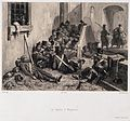 Soldiers suffering from typhus, lying in the streets. Lithog Wellcome V0010537.jpg