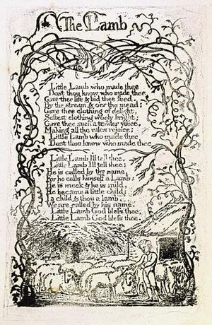 The Lamb - Image: Songs of Innocence copy U 1789 The Houghton Library object 11 The Lamb