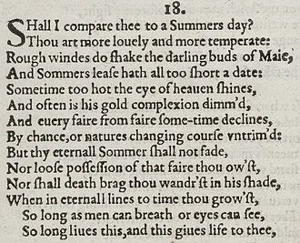 sonnet  sonnet 18 detail of old spelling text