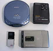 Various products of the Walkman line