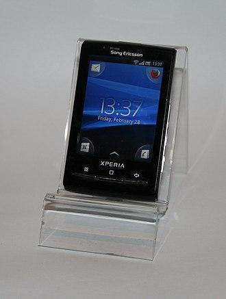 Sony Ericsson Xperia X10 Mini - Image: Sony Ericsson Xperia X10 Mini on stand