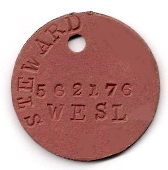 Dog tag - One of the two identity discs issued by the South African Navy during World War II with rank, surname, initials, force number and religious affiliation