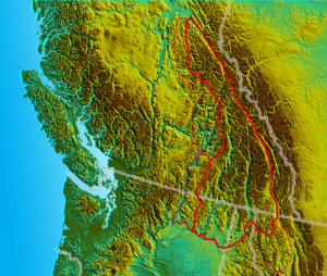 Columbia Mountains - Image: South BC NW USA relief Columbia Mtns w Highlands wcabinetsalish