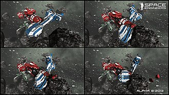 Space Engineers - Set of screenshots from the game demonstrating the effects of a collision between two ships.