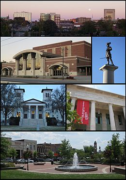 Clockwise from top: Spartanburg skyline, Daniel Morgan statue, Chapman Cultural Center, Morgan Square, Main Building at ووفرڈ کالج, Spartanburg Memorial Auditorium