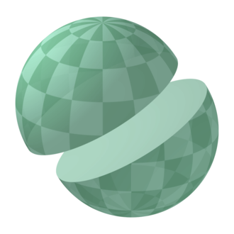 Great circle on a sphere Sphere halve.png