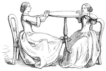 Sketch showing two mediums making a table float: one of them lifts it with her foot and then they keep it in the air by pressing against it from opposite sides.