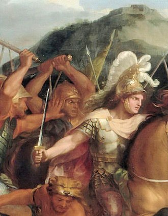 Spithridates - Spithridates attacking Alexander from behind at the Battle of Granicus. Charles le Brun (detail).