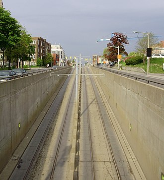 St. Clair Avenue - The middle lanes of St. Clair Avenue West carry streetcars underground to and from St. Clair West Station.