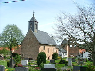 Altleiningen - St. Jacob's in the outlying centre of Höningen. in the background at right, the ruined monastery church's west gable