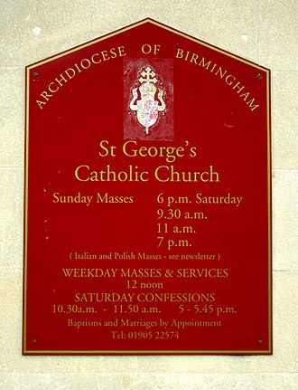 St George's Church, Worcester - Notice board in 2011