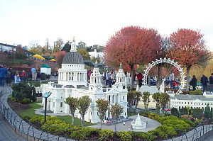 History of Lego - A model of St Paul's Cathedral in London can be seen in Legoland Windsor. It is made of thousands of Lego bricks. The rotating model of the London Eye in the background is also made of Lego bricks.